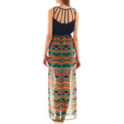 My Michelle Sleeveless Belted Maxi Dress