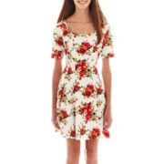 City Triangles® Short-Sleeve Floral Skater Dress