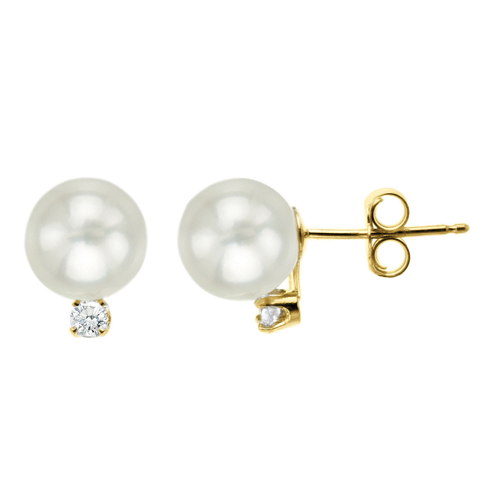 Certified Sofia™ Cultured 6mm Freshwater Pearl & Diamond-Accent Stud Earrings