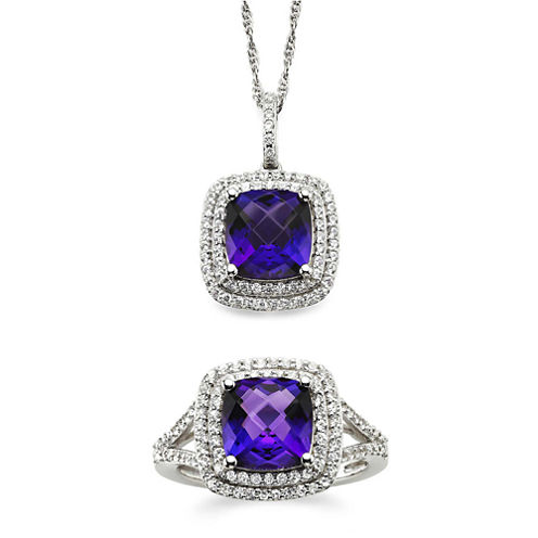 Genuine Amethyst & Lab-Created White Sapphire Sterling Silver 2-pc. Boxed Jewelry Set