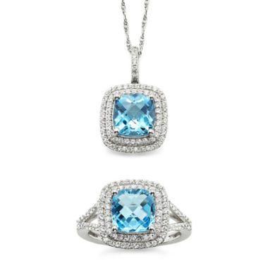 jcpenney.com | Genuine Blue Topaz & Lab-Created White Sapphire Pendant Necklace & Ring Set