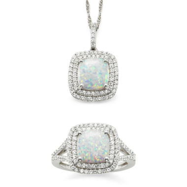 jcpenney.com | Lab-Created Opal & White Sapphire Sterling Silver 2-pc. Boxed Jewelry Set