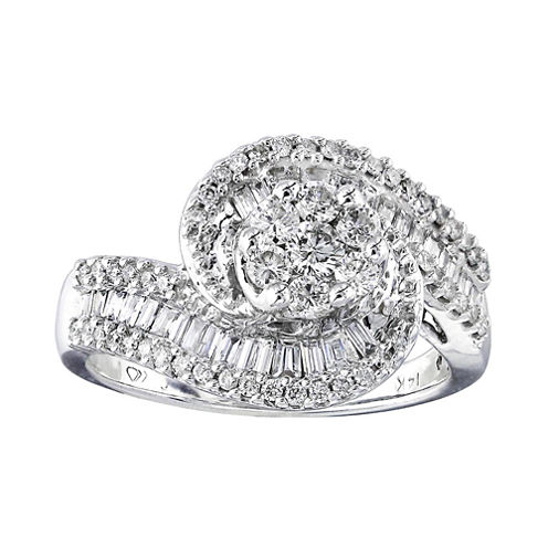 diamond blossom 1 CT. T.W. Diamond 10K White Gold Swirl Ring