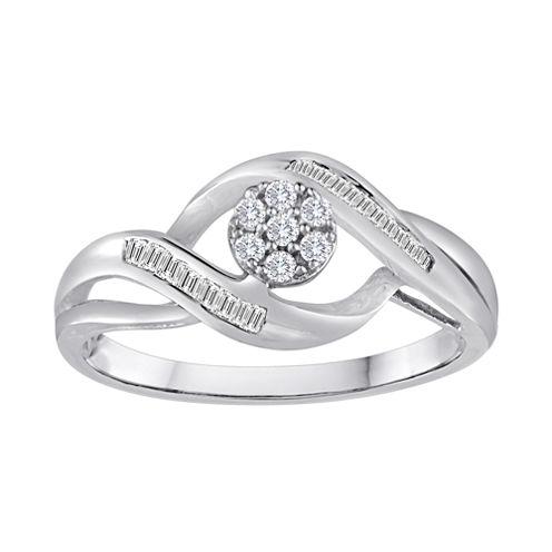 diamond blossom 1/5 CT. T.W. Diamond 10K White Gold Cluster Ring