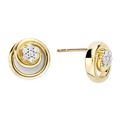 diamond blossom 1/10 CT. T.W. Diamond 10K Yellow Gold Swirl Stud Earrings