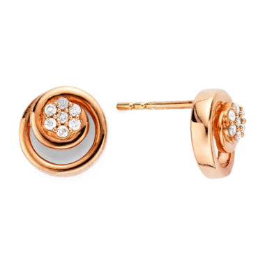 jcpenney.com | diamond blossom 1/10 CT. T.W. Diamond 10K Rose Gold Swirl Earrings