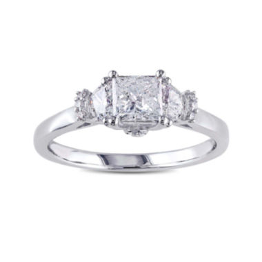 jcpenney.com | 1 CT. T.W. Diamond 14K White Gold 3-Stone Princess Ring