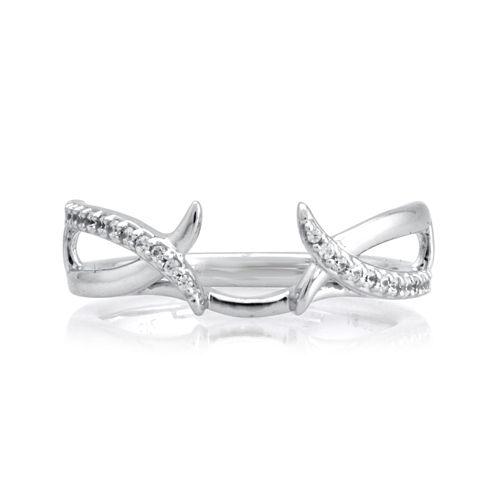 1/7 CT. T.W. Diamond 14K White Gold Crossover Ring Enhancer
