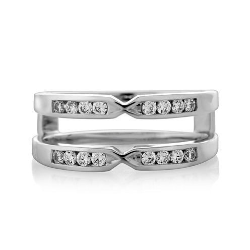 1/4 CT. T.W. Diamond 14K White Gold Pinched Ring Wrap