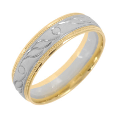 jcpenney.com |  10K Two-Tone Gold Womens Engraved Milgrain 5mm Wedding Band