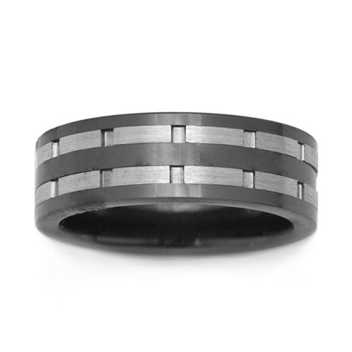 Black Ceramic & Stainless Steel Inlay Band