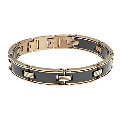 Mens Ceramic & Stainless Steel & Rose-Tone IP Link Bracelet