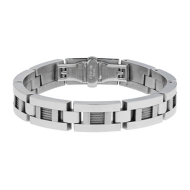 jcpenney.com | Mens Stainless Steel & Cable Link Bracelet