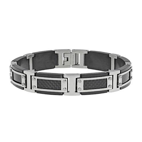 Mens Stainless Steel & Black IP w/Carbon Fiber Link Bracelet