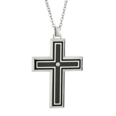 jcpenney.com | Mens Crystal Stainless Steel & Carbon Fiber Cross Pendant Necklace