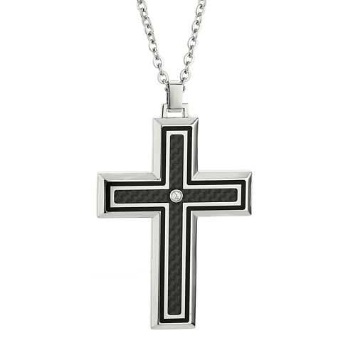 Mens Crystal Stainless Steel & Carbon Fiber Cross Pendant Necklace