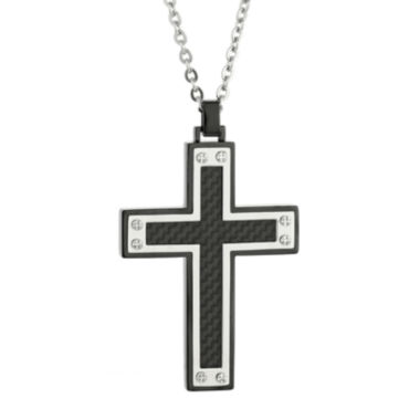 jcpenney.com | Mens Stainless Steel & Black IP w/Carbon Fiber Inlay Cross Pendant Necklace