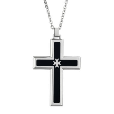 jcpenney.com | Mens Cubic Zirconia Stainless Steel & Black Resin Cross Pendant Necklace