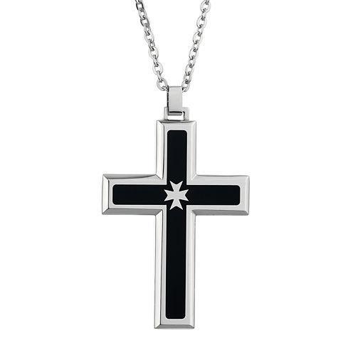 Mens Cubic Zirconia Stainless Steel & Black Resin Cross Pendant Necklace