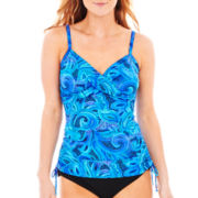 Trimshaper® Mosaic Print Side-Tie Tankini Swim Top
