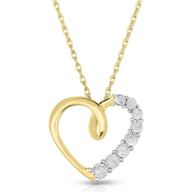 jcpenney.com | TruMiracle® 1/10 CT. T.W. Diamond Heart Pendant Necklace