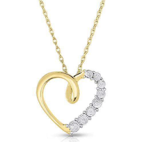 TruMiracle® 1/10 CT. T.W. Diamond Heart Pendant Necklace
