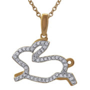 ASPCA® Tender Voices™ 1/6 CT. T.W. Open-Design Diamond Bunny Pendant Necklace