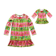 Dollie & Me Matching Gingerbread Nightshirt Set - Girls 4-12