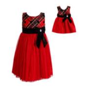 Dollie & Me Sleeveless High-Waist Dress with Doll Garment – Girls 4-6x