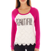 Spoiled Long-Sleeve Lace Raglan Tee