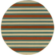 Montego Stripe Indoor/Outdoor Round Rug