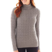 St. John's Bay® Cable Turtleneck Sweater