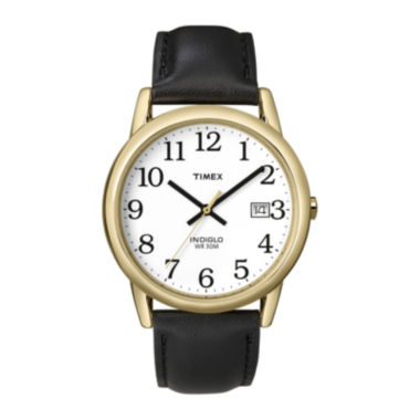 jcpenney.com | Timex® Easy Reader Mens Black Leather Strap Watch T2H2919J