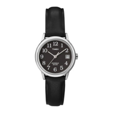 jcpenney.com | Timex® Easy Reader Womens Black Leather Strap Watch T2N5259J