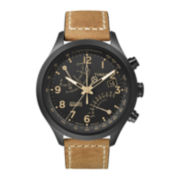 Timex® IQ Classic Mens Tan Leather Strap Chronograph Watch T2N700AB