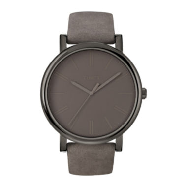 jcpenney.com | Timex® Originals Modern Gray Leather Strap Watch T2N795AB