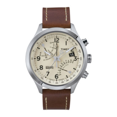 jcpenney.com | Timex® IQ Classic Mens Brown Leather Strap Chronograph Watch T2N932AB