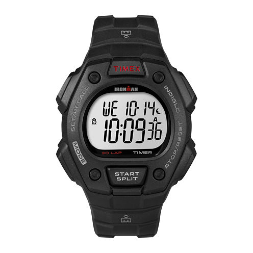 Timex® Ironman Mens Black Resin Strap 30-Lap Watch T5K8229J