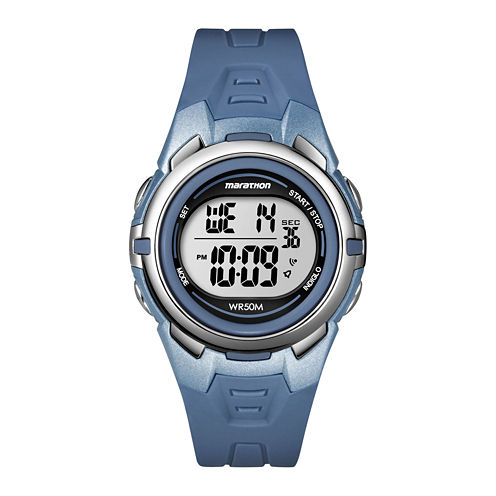 Marathon by Timex® Blue Resin Strap Digital Watch T5k362M6