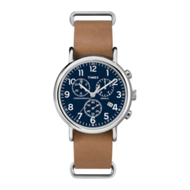 jcpenney.com | Timex® Weekender Slip-Thru Tan Leather Strap Chronograph Watch TW2P623009J