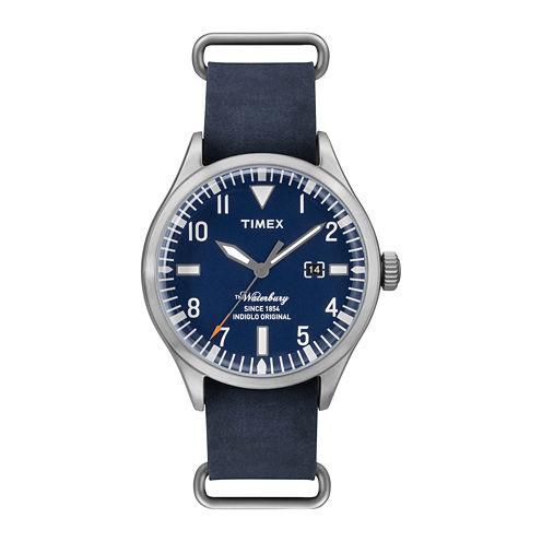 Timex® Originals Modern Mens Blue Leather Strap Watch TW2P64500AB