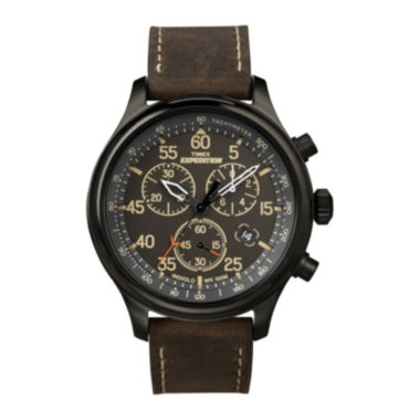 jcpenney.com | Timex® Expedition® Mens Brown Leather Strap Chronograph Watch T499059J