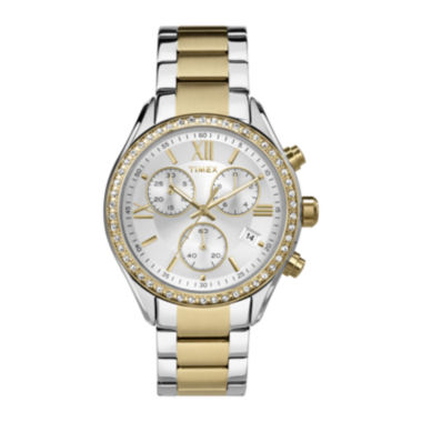 jcpenney.com | Timex® Elevated Classic Womens Chronograph Two-Tone Stainless Steel Bracelet Watch TW2P67000AB