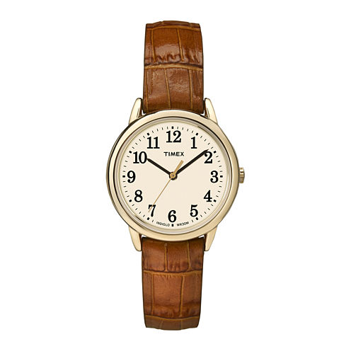 Timex® Easy Reader Womens Brown Leather Strap Watch TW2P688009J