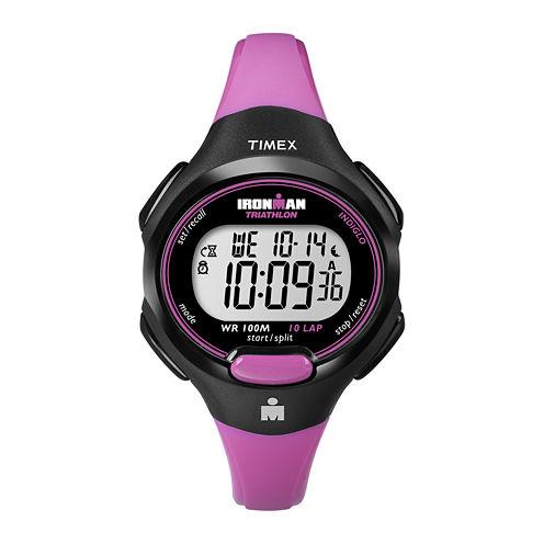 Timex® Womens Pink Resin Strap 10-Lap Watch T5K5259J