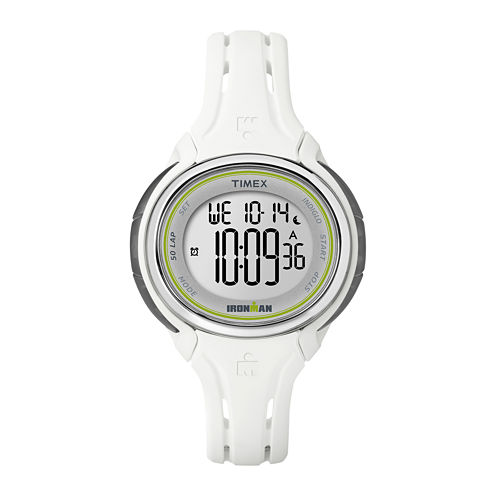 Timex® Ironman Womens White Resin Strap 50-Lap Watch TW5K907009J