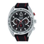 Pulsar® On the Go Mens Black Silicone Strap Chronograph Sport Watch PT3633