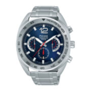 Pulsar® On the Go Mens Stainless Steel Chronograph Sport Watch PT3629