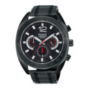 Pulsar® On the Go Mens Black Stainless Steel Chronograph Sport Watch PT3679