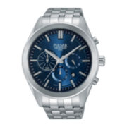 Pulsar® On the Go Mens Stainless Steel Chronograph Sport Watch PT3679